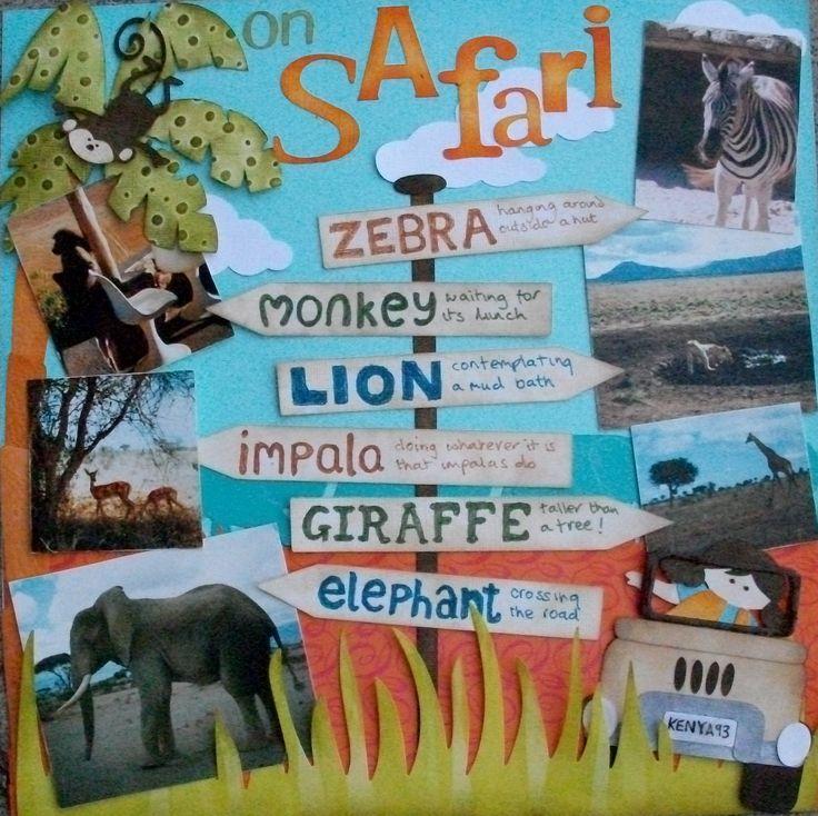 Safari layout - Scrapbook.com  I'm always looking for creative ways to scrap zoo pics.