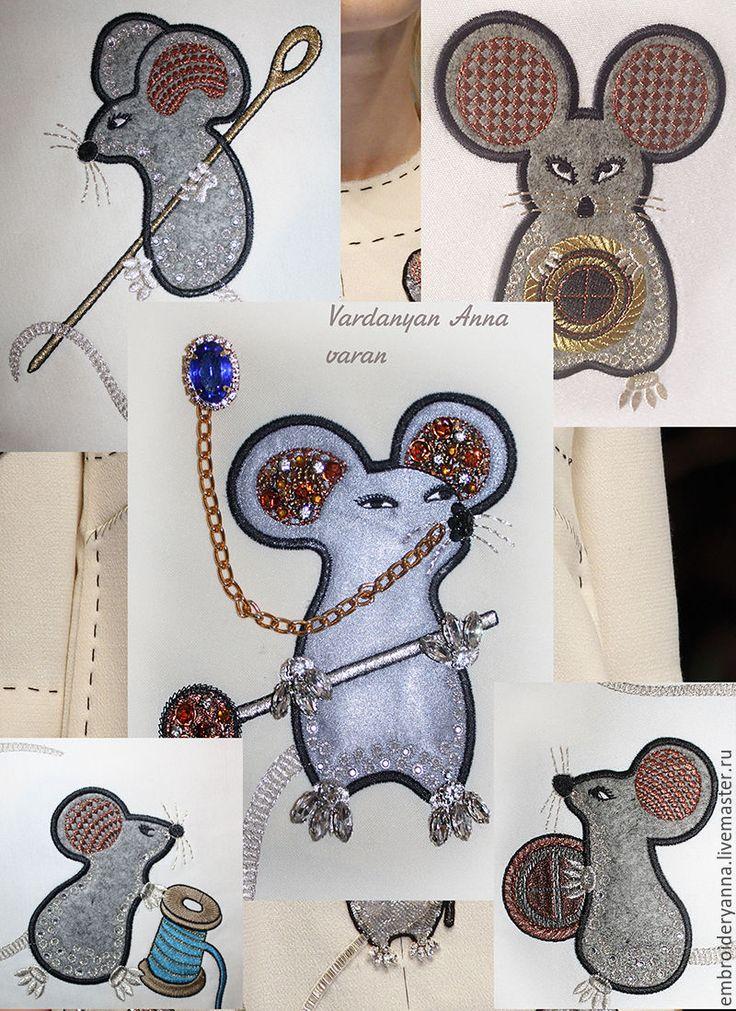 Купить Дизайн для машинной вышивки. Мыши Доьче Габбана. Мыши D&G. - комбинированный