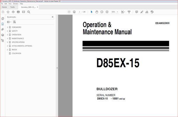 Komatsu D85 15 Bulldozer Operation Maintenance Manual S N 10001 Operation And Maintenance Komatsu Manual