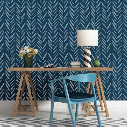 Brush Strokes Allover from Cutting Edge Stencils is a modern wall pattern that combines the Herringbone and Chevron designs with an artistic twist. Stenciled here on an accent wall in blue. http://www.cuttingedgestencils.com/brush-strokes-wall-pattern-stencil-modern-wall-stencils.html