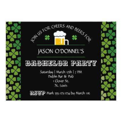 #St. Patrick's Day Bachelor Party Invitation - bachelor party invitations #bachelor #party #invitations #weddinginvitations #wedding #invitations #party #card #cards #invitation #bachelorparty #stag