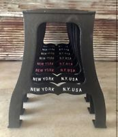 Industrial cast iron table legs base embossed New York NY USA bar live edge