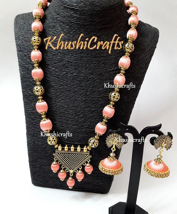 Peach shaded Silk thread Jewelry with designer Pendant