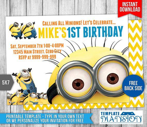 Minion Invitation Minion Birthday Invitation by TemplateMansion