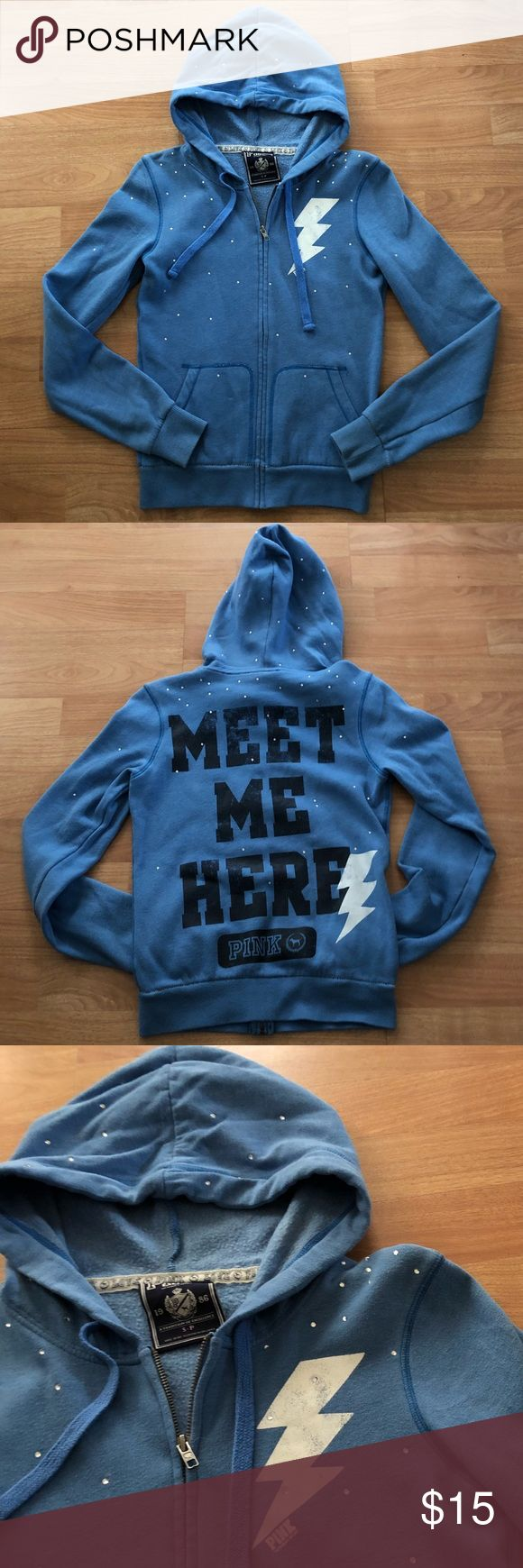 Victoria's Secret Blue Zip Up Hoodie VS PINK powder blue zip up hooded jacket with jewels along shoulders and hood and lightning bolt graphic on front. Back has graphic as well in a weathered style. Inside is soft, fuzzy and warm (see pic) and has pockets and drawstrings. PINK Victoria's Secret Tops Sweatshirts & Hoodies
