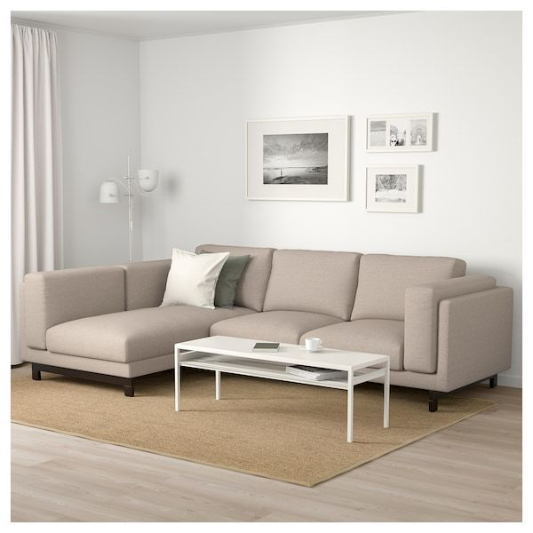 Nockeby 3 Sitzer Sofa Mit Chaiselongue Links Lejde Dunkelbeige Holz Ikea 2020
