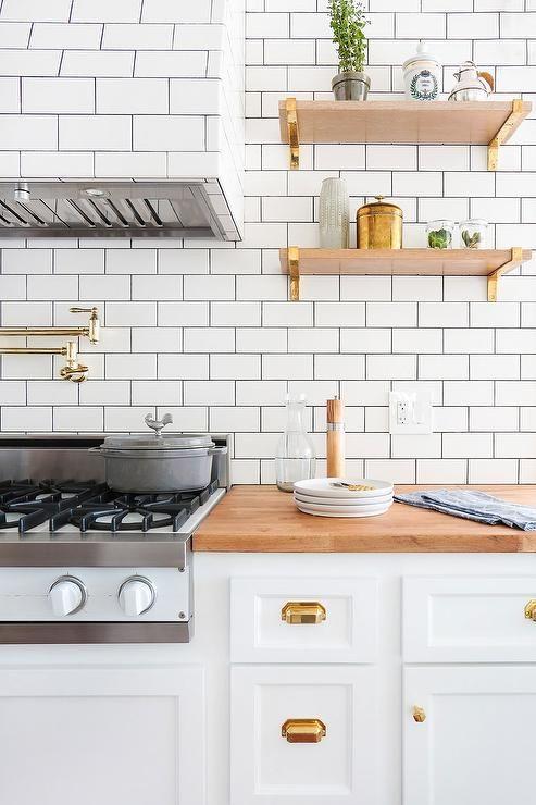 Wood Kitchen Shelves with Brass Brackets, Contemporary, Kitchen