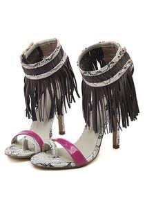 Серо-красные змеиные сандалии на высоких каблуках