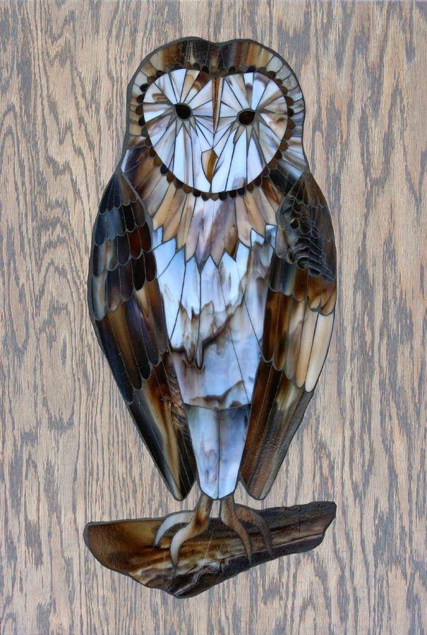 "Barn Owl, stained glass mosaic, 30""x20"" (31""x21"" framed), 2014 by Kasia Polkowska Check out Kasia Mosaics on Facbook: https://www.facebook.com/KasiaMosaics"
