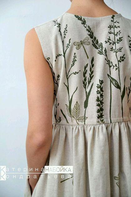 Купить или заказать Платье 'Август' в интернет-магазине на Ярмарке Мастеров. Платье из полу льна. Ручная печать с авторским рисунком. Можно с рукавами. Присылайте свои мерки и мы построим индивидуальную выкройку.