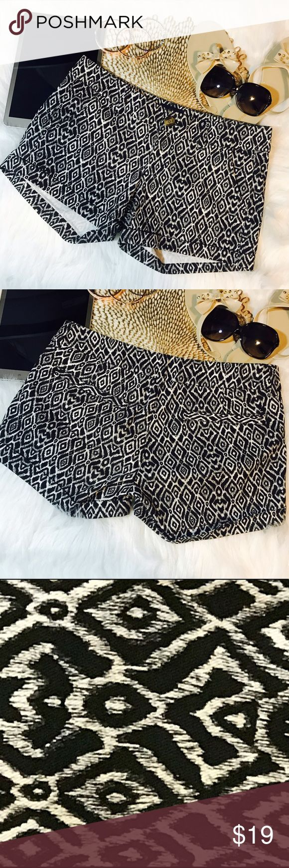 AEO Midi Stretch Boho Print Shorts Black and White boho Aztec print midi shorts with stretch fabric American Eagle Outfitters Shorts