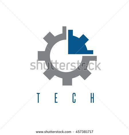 gear with arrow tech concept vector design template