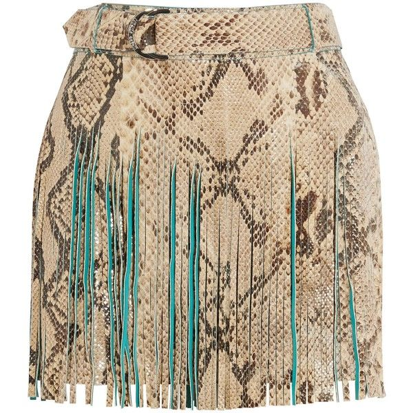ROBERTO CAVALLI   Fringed croc-effect leather mini skirt ($1,170) ❤ liked on Polyvore featuring skirts, mini skirts, fringe mini skirts, brown skirt, leather miniskirt and leather zipper skirt
