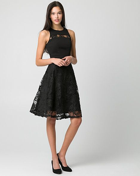 Lace+Illusion+Cocktail+Dress