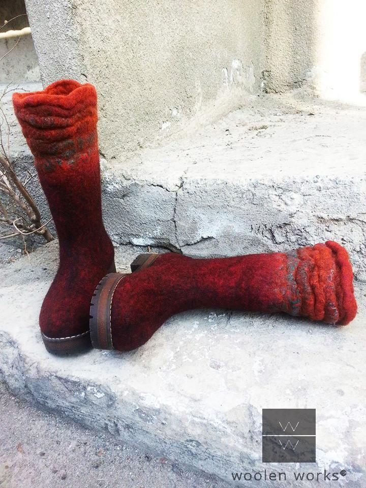 "Hand felted boots ""Flame"""