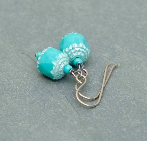 Baby blue Czech earrings.   by BijoubeadsLondon