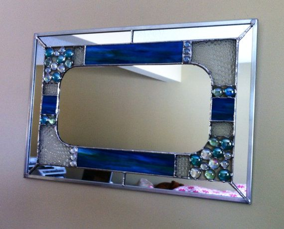 Stained Glass Mirror Beach Bubbles by StainedGlassStudio on Etsy