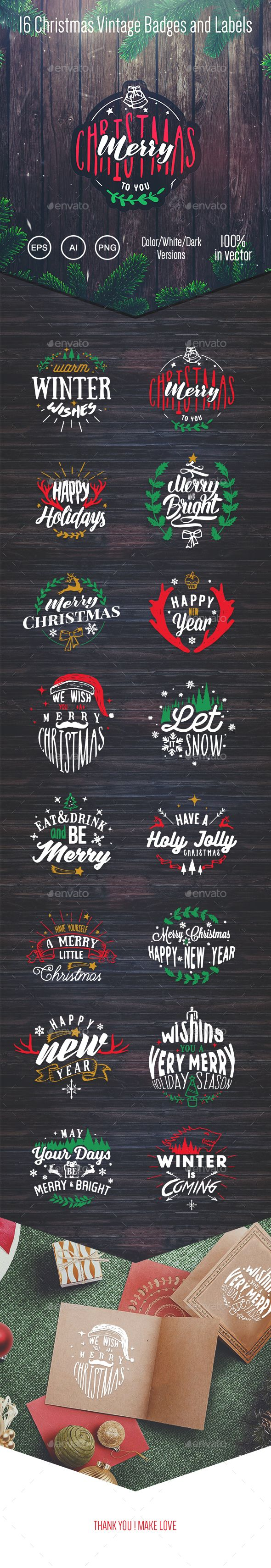 16 Christmas Vintage Badges and Labels Vector EPS, AI #design #xmas Download: http://graphicriver.net/item/16-christmas-vintage-badges-and-labels/14172393?ref=ksioks