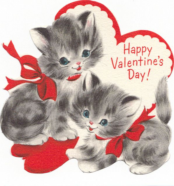 "vintage ""Happy Valentine's Day!"" kittens"