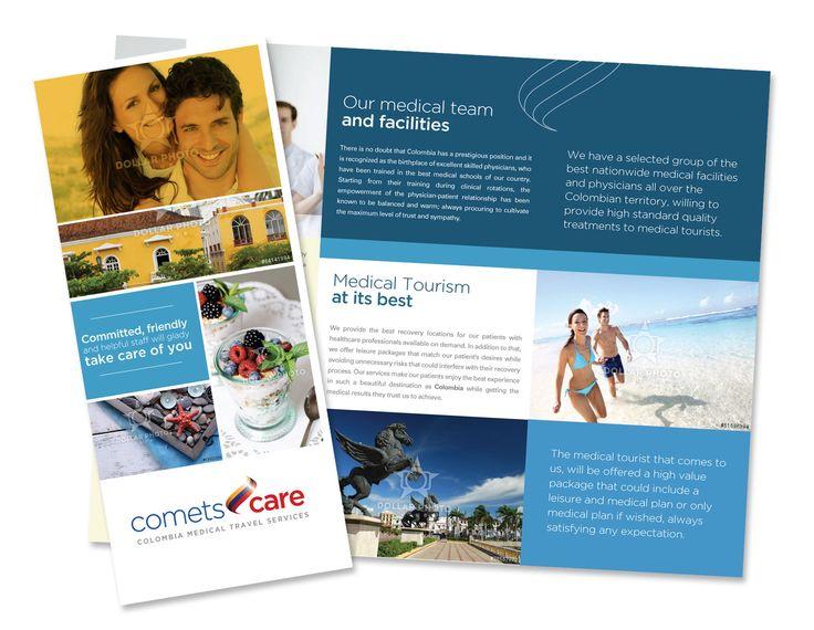 Mockup para diseño de plegable, proyecto COMETS CARE para servicios de turismo de salud en Colombia - Año ©2014