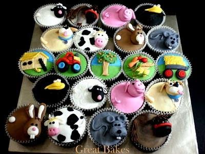 Barnyard Farm Party Theme: animal cupcakes, cowprint bottles with milk, barnhouse invites, farm-related games for kids, goody bag ideas.