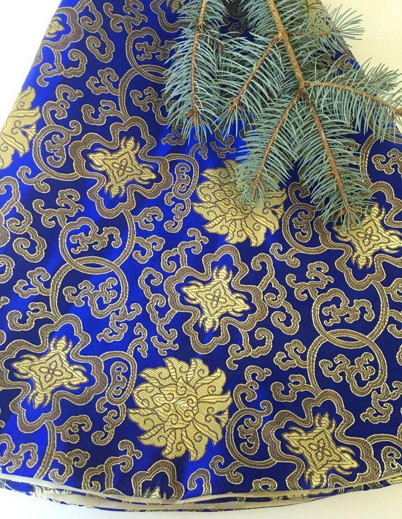 Christmas tree skirt Royal blue tree skirt Asian by GreenwoodStore