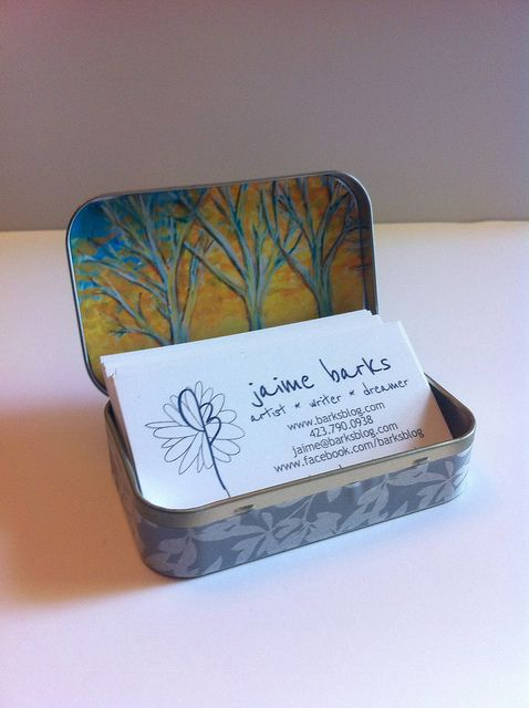 Business card holder from Altoids tin.  I'll make mine with a Van Gogh's Starry Night theme.