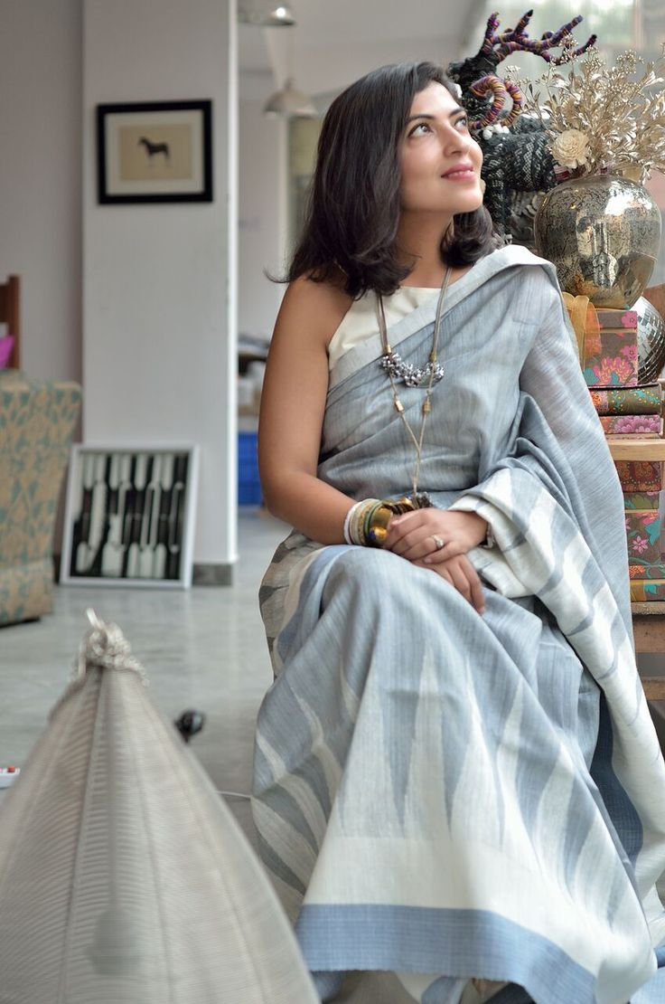 Pooja Roy Yadav wearing a Banarasi handwoven cotton sari from Ekaya.