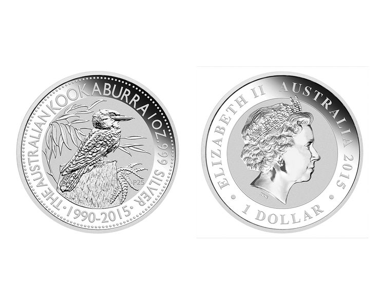 Issued by the Perth Mint, the 1 ounce kookaburra is something of an industry-standard in the silver trading world. Celebrating 25 years, the 2015 dated Australian Kookaburra silver bullion coins feature the original coin design from 1990 portraying a kookaburra on a tree stump. These beautiful releases also bear a special 'P25' anniversary mintmark. #abcbullion #silver #minted #coin #australian #kookaburra #pallion