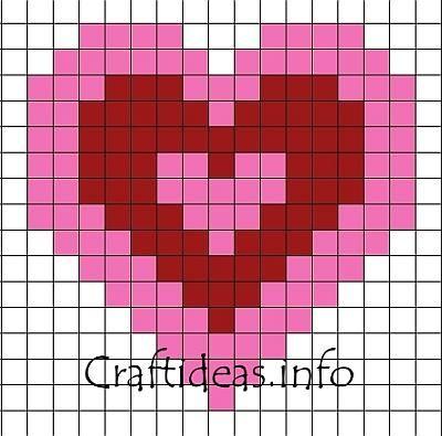 Heart perler bead pattern. (make a valentines banner?)
