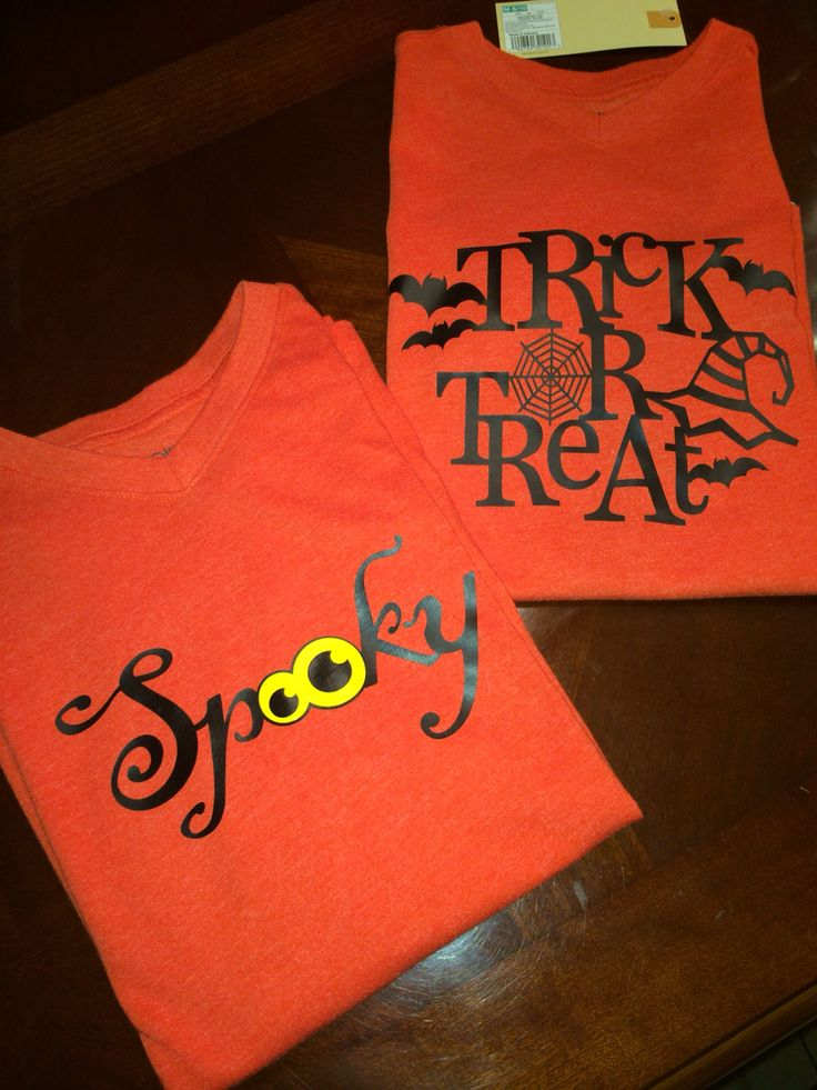 used silhouette silhouette design and heat transfer vinyl to make halloween shirts - Homemade Halloween Shirts