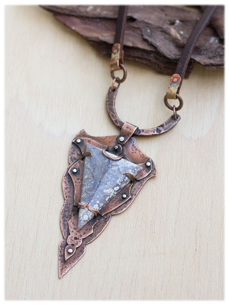 Rustic Talisman Necklace: Hand Forged Copper Jewelry - Unique Necklace - Statement necklace - Luna agate gemstone Pendant - Oxidized Copper by AnniamAeDesigns on Etsy