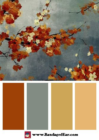May have just found the color palette I've been looking for for reading room/office. Trying to move away from jewel tones-burgandy/green/gold....have had it for way too many years! Orange Color Palette: Orange Blossoms II, Art Print by Asia Jensen