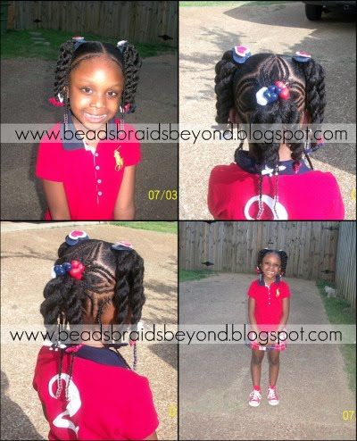 BEADS BRAIDS AND BEYOND /  PLATS / LITTLE GIRL HAIRSTYLES / BRAIDS / PROTECTIVE HAIRSTYLE / HAIRSTYLES / KIDS / BOW  / CORNROLLS / HAIRDO / UPDO / GIRL / TWIST HAIRSTYLE / NATURAL HAIRSTYLE / BEADS