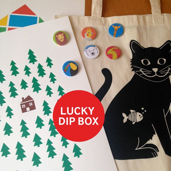 Lucky Dip Box - hello DODO screenprint, handprinted tote bag, button badges, grab bag, wall art, nursery art, canvas shopper bag, fun design