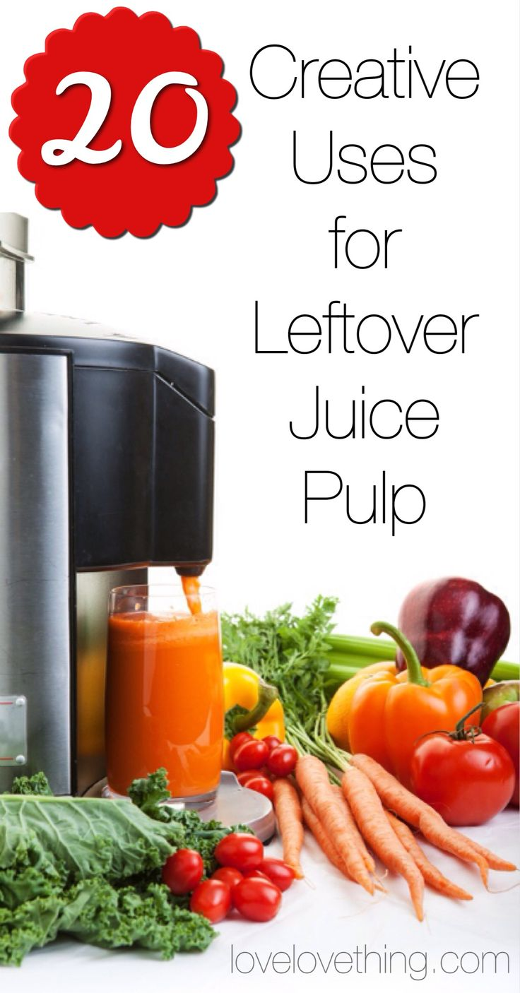 20 Creative uses for leftover juice pulp.  Also has a lot of other helpful info about juicing.