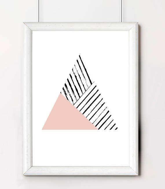 Triangle Printable, Trending Poster Art, Blush Pink Triangle Poster, Blush Pink Printable Art, Minimalist Triangle Poster, Triangle Wall Art