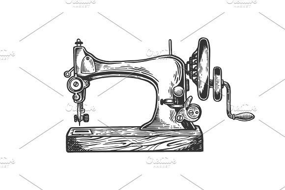 Old Sewing Machine Engraving Vector Old Sewing Machines Sewing