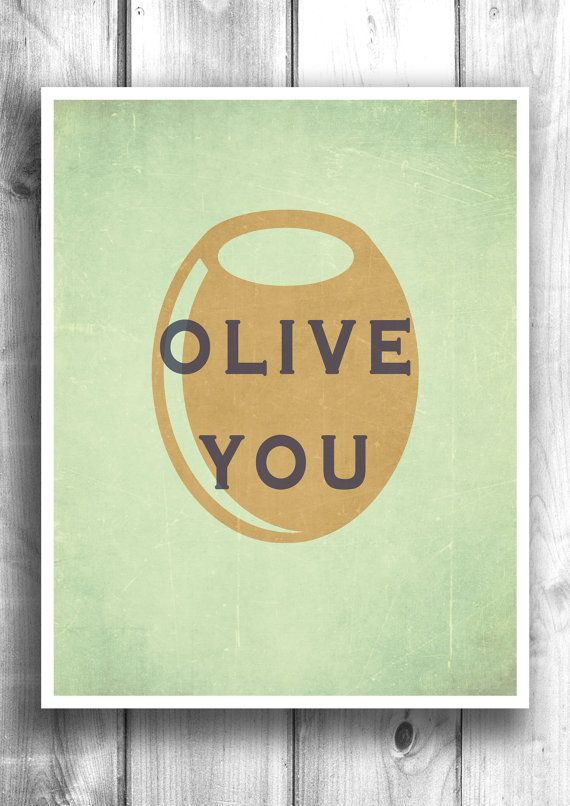 Olive you kitchen art print wall art bar decor by HappyLetterShop