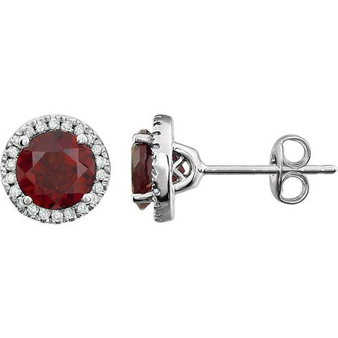 Round garnet and diamond earrings are set in polished 14kt white gold.  Gemstone details: two 6mm round genuine Mozambique garnet, AA quality, dark orange red.  Each garnet weighs 1 carat.  1/8 ct tw genuine diamond accents.