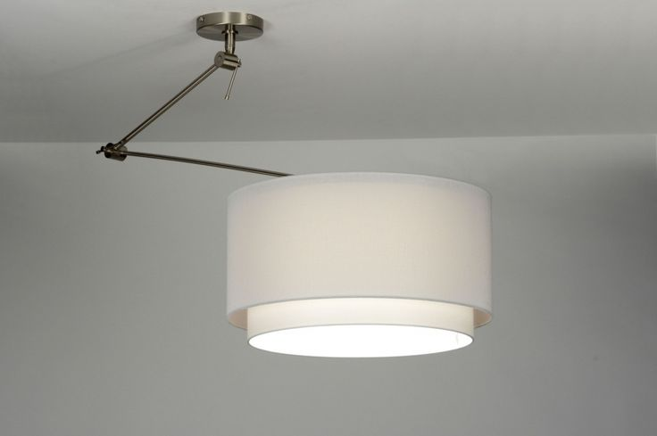 hanglamp 30147: modern, staal , rvs, stof, wit, rond ...