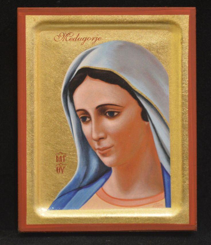 Handmade Serigraph Сatholic Icon of Virgin Mary