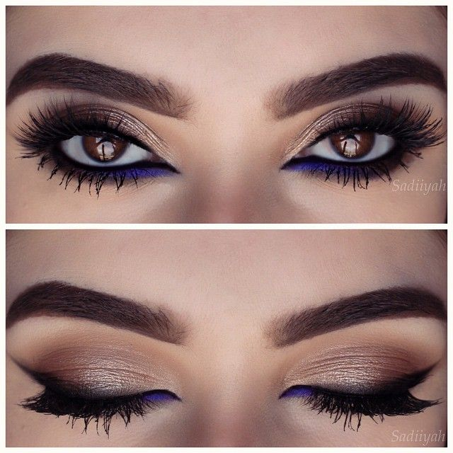 gold / neutral #smokey eye with soft brown, smoked out winged eyeliner + pop of color (vibrant #purple) on inner lower lashline | #makeup @sadiiyah