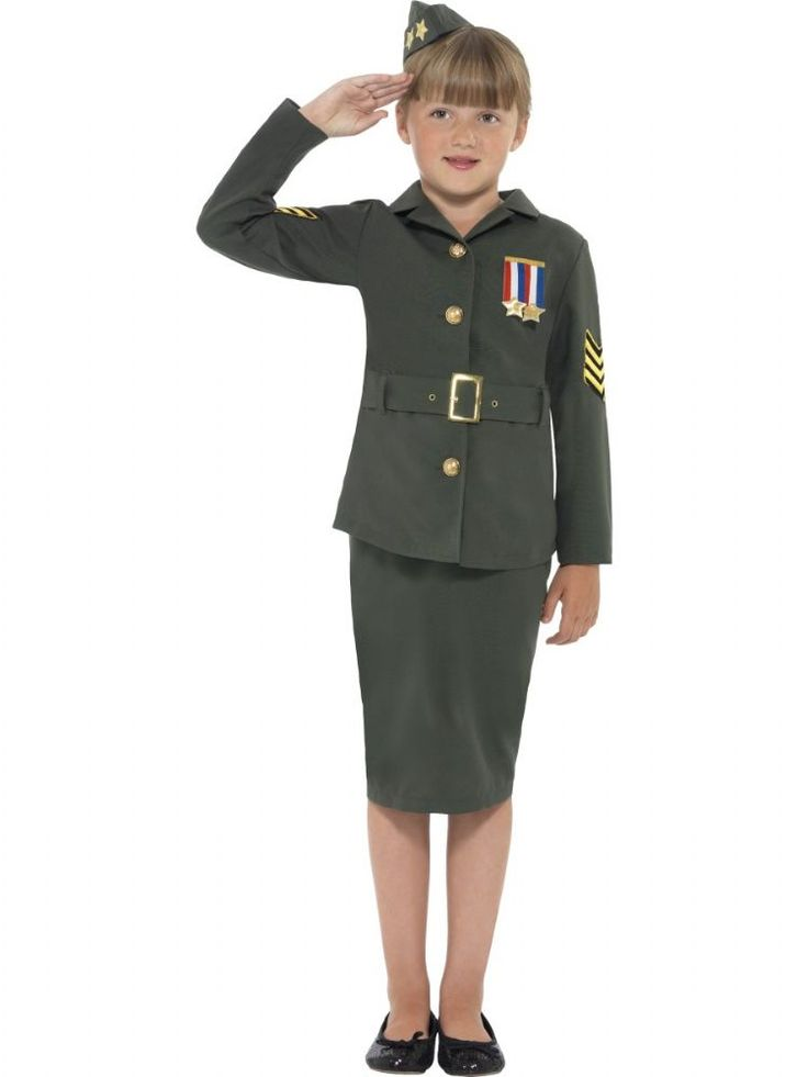 This smart girl's World War II army fancy dress costume in authentic khaki green includes jacket, skirt attached belt and hat and is available at the lowest price from partytimedirect.co.uk