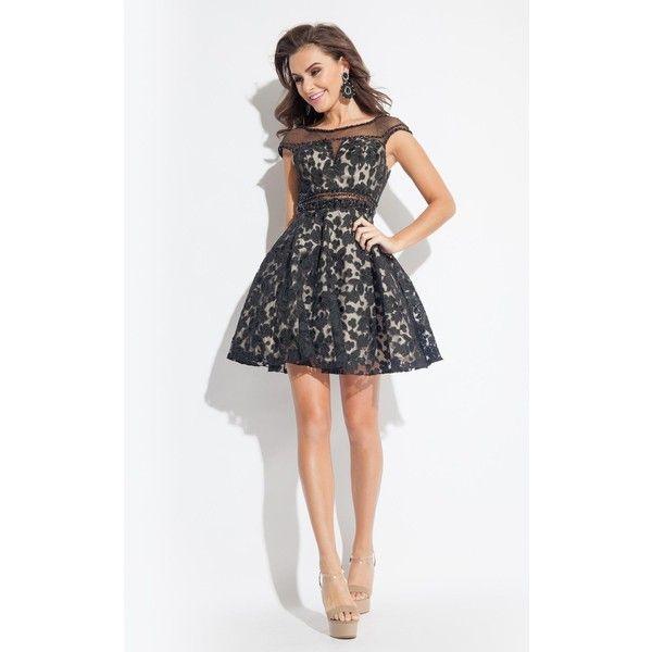Rachel Allan 4067 Graduation Dress Mini High Neckline Short Sleeve ($418) ❤ liked on Polyvore featuring dresses, black nude, cocktail dresses, sheer lace dress, lace cocktail dress, black mini dress, nude lace dress and mini dress