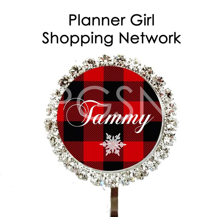 Quick Ship Personalized Planner Clip - Buffalo Plaid and Rhinestone