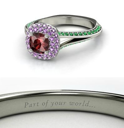 """Disney engagement inspired rings: """"Ariel"""" Cushion Red Garnet 14K White Gold Ring with Amethyst & Emerald"""