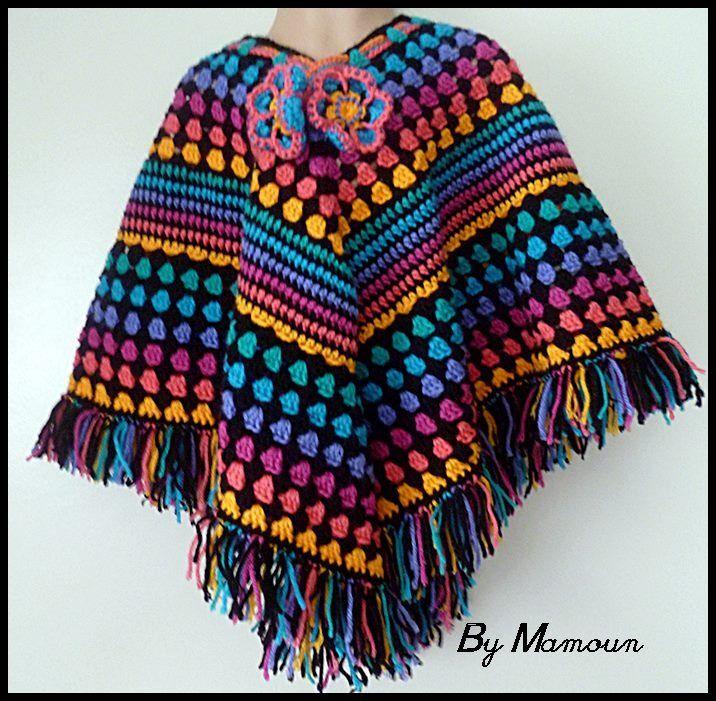 """Poncho Crocheté Main """"Le Ponhco Feu d'Artifice"""" : Mode filles par mamountricote"""