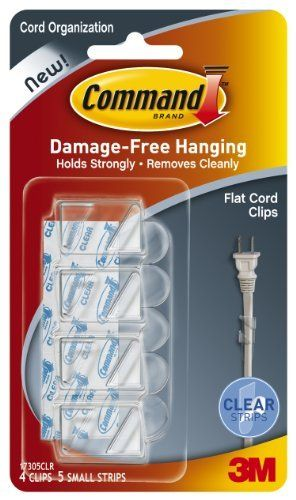 Command Flat Cord Clips, Clear, 4-Clip by Command. $3.97. Amazon.com                  3M Adhesive Technology Command products offer simple, damage-free hanging solutions for many projects in your home and office. Simplify decorating, organizing, and celebrating with an array of general and decorative hooks, picture and frame hangers, organization products, and more. Thanks to the innovative Command adhesive strips, you can mount and remount your Command product...