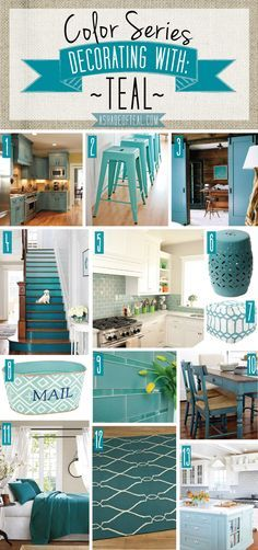 Color Series, Teal Deocor, Teal kitchen bath decor